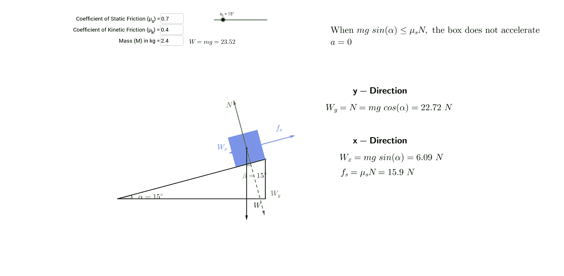 Mass on a Ramp Friction GeoGebra – Force Mass X Acceleration Worksheet
