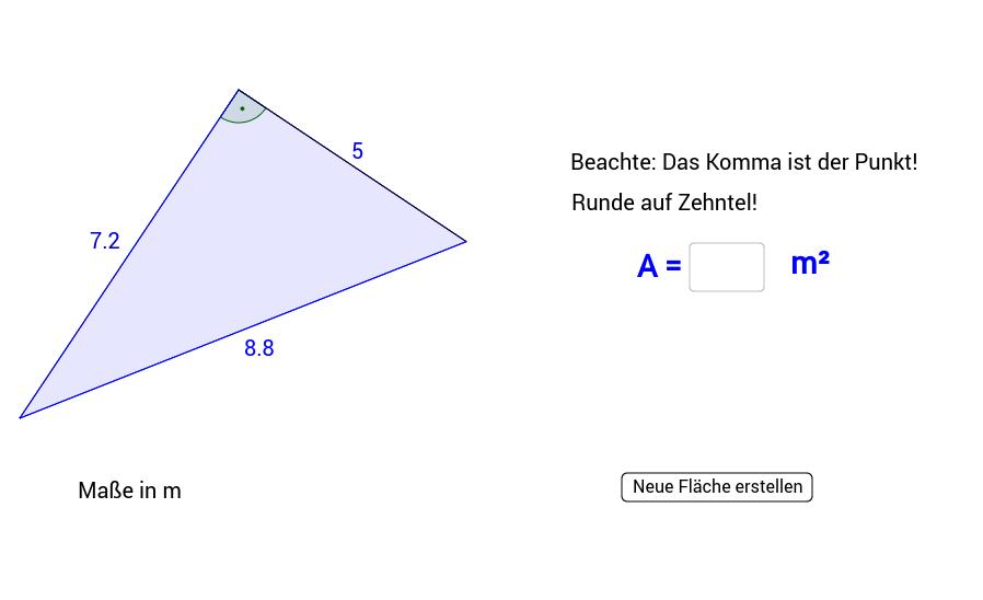 Flächeninhalt des rechtwinkligen Dreiecks 4