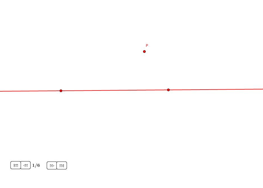 Perpendicular por un punto exterior a una recta