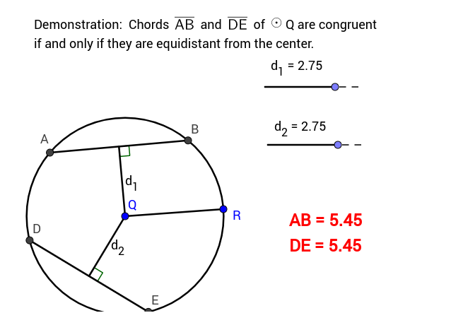 Congruent chords in a circle – GeoGebra