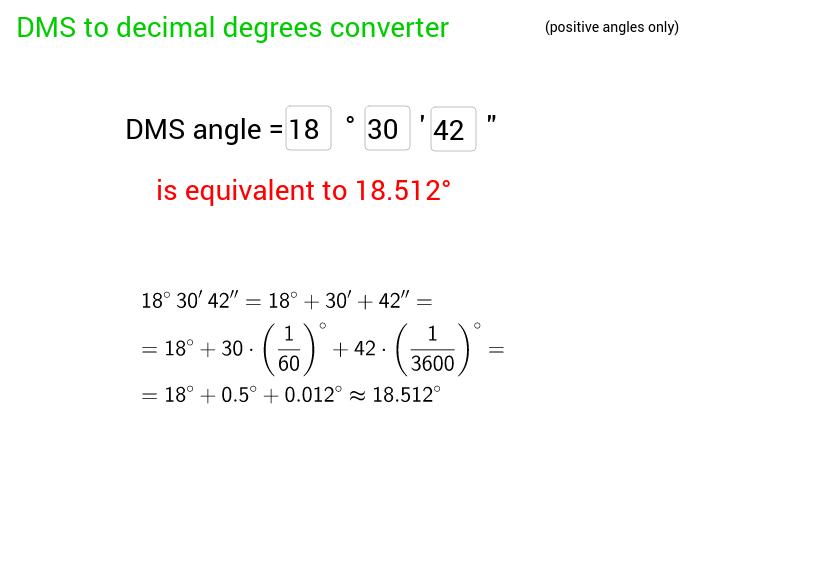 dms → decimal angle converter
