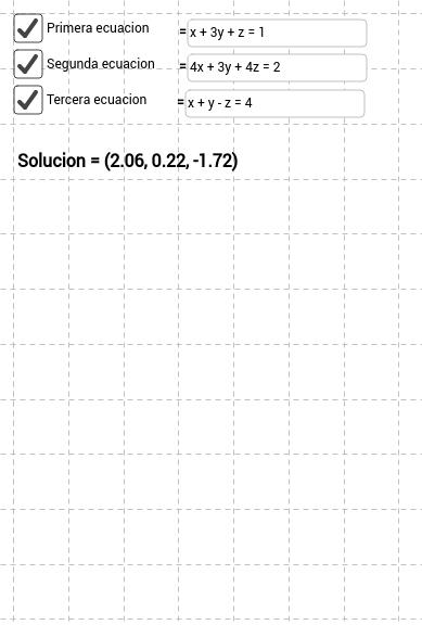 Solucion de un Sistema de tres ecuaciones