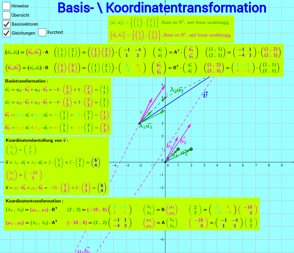 Basis-/Koordinatentransformation im R²