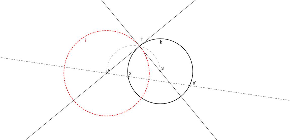 Příklad 1: Samodružná kružnice v kruhové inverzi