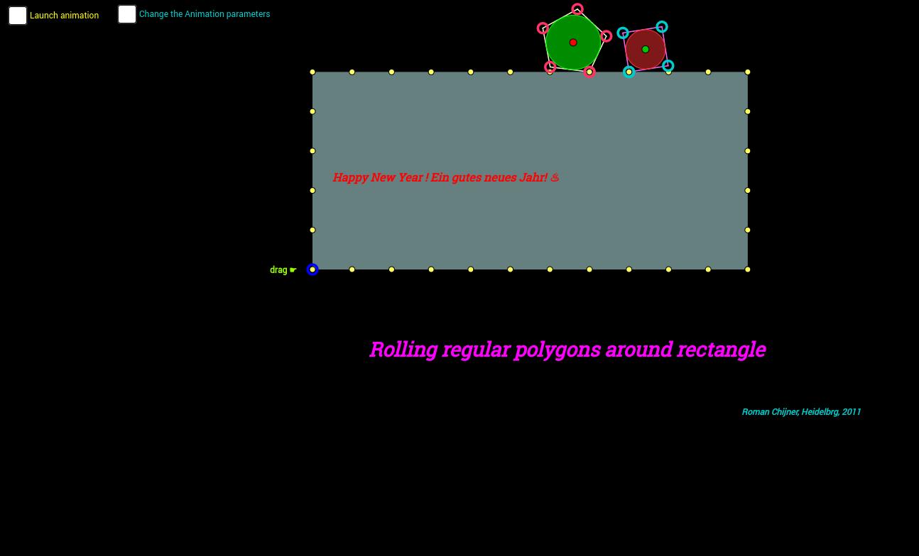 Rolling regular polygons around rectangle