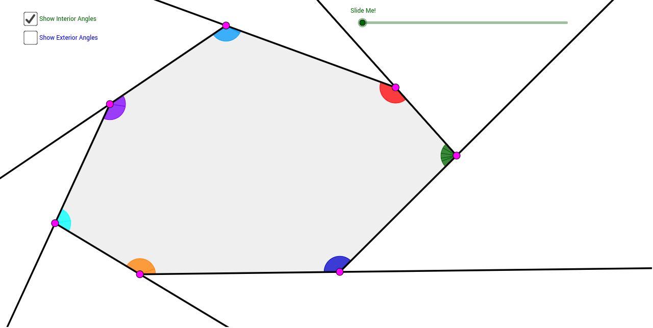 Heptagon interior exterior angle sum theorems geogebra for Sum of exterior angles of a heptagon