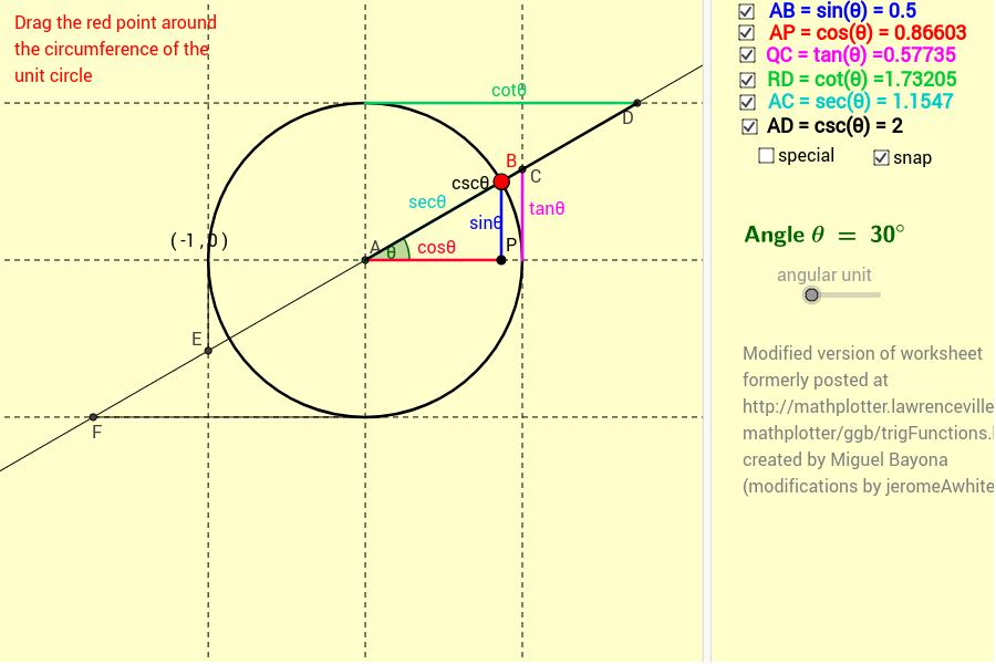 Unit Circle Trig functions vs Geometry definitions GeoGebra – Unit Circle Worksheet