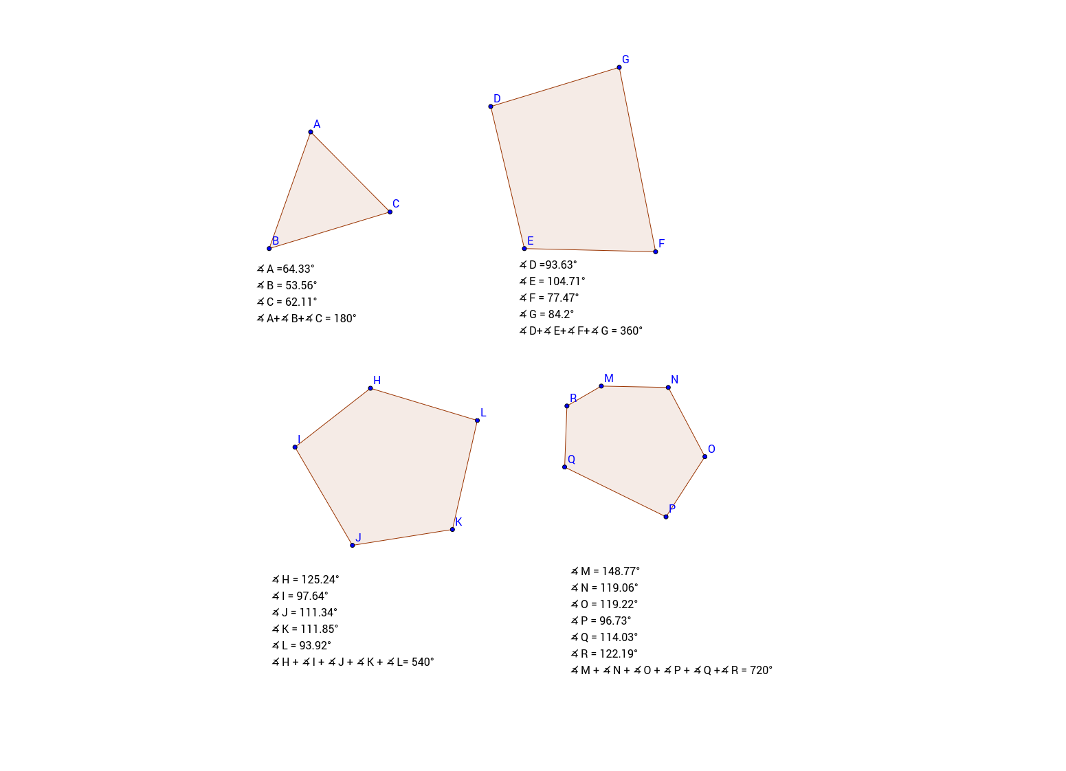 Sum of interior angles of polygons