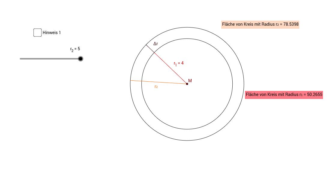 lokale Änderungsrate Kreisflächeninhalt – GeoGebra