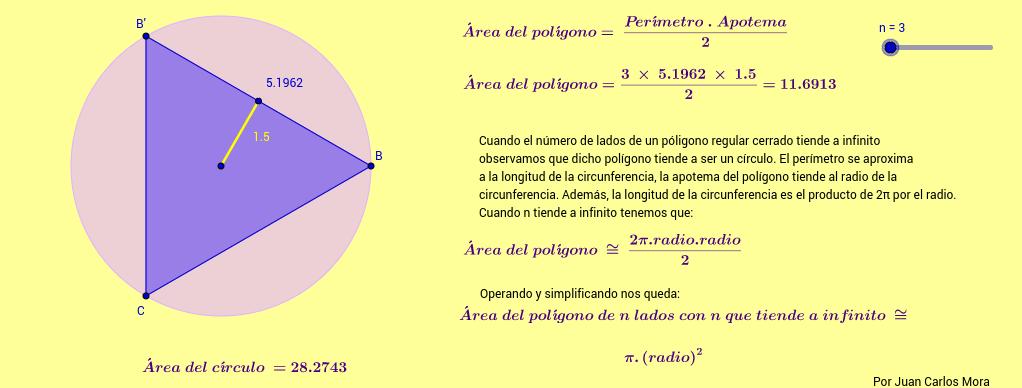 Deducción de la fórmula del área del círculo
