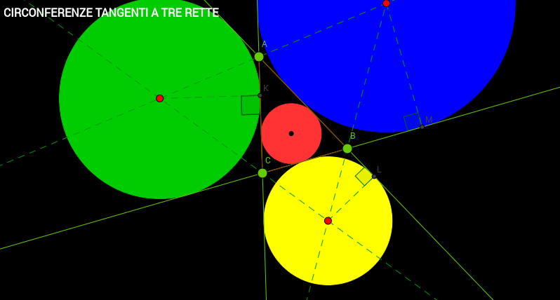 Circonferenze tangenti a tre rette