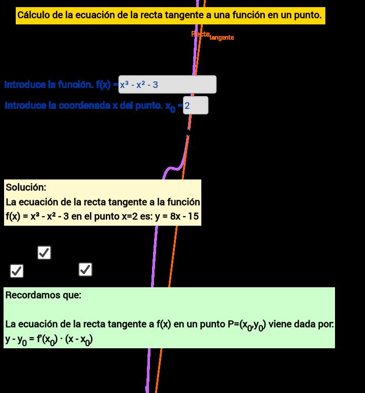 Ecuación de la recta tangente a una función en un punto