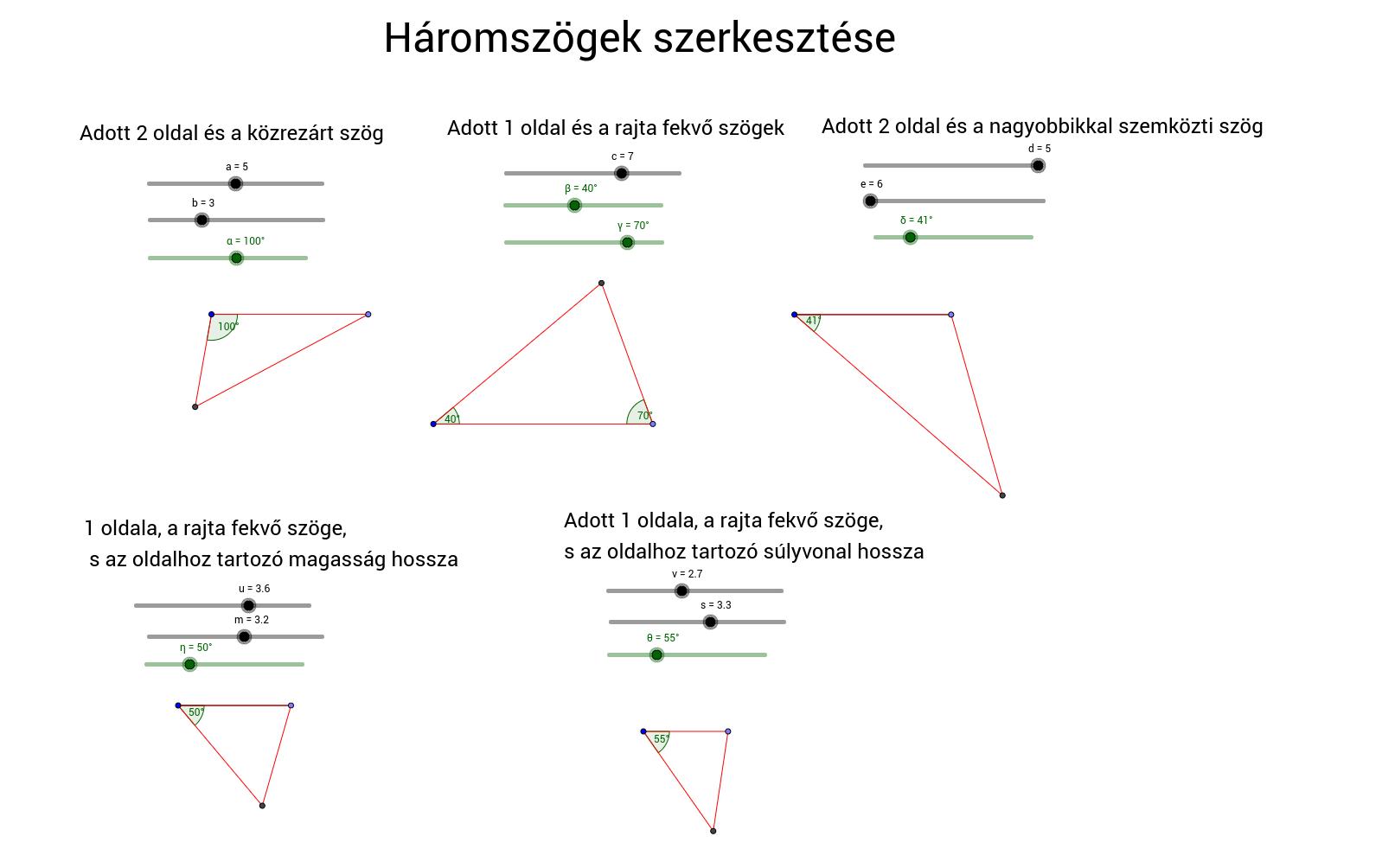 Háromszögek szerkesztése