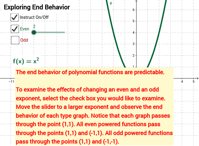 End Behavior of Polynomial Functions - GeoGebra