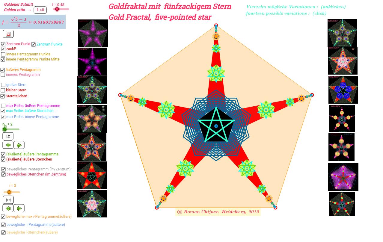 Goldfraktal mit fünfzackigem Stern