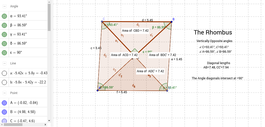 Properties of a Rhombus GeoGebra – Area of Rhombus Worksheet