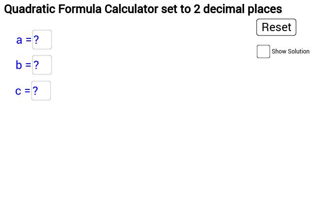 Quadratic Formula Calculator