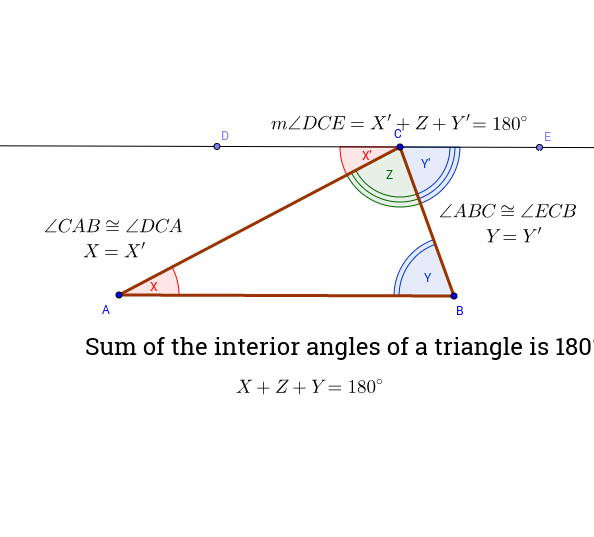 Interior angle Sum of Triangles Proof