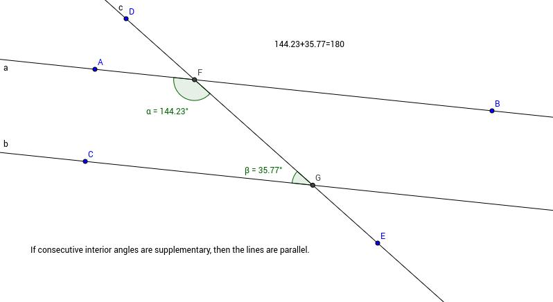 Consecutive Interior Angles in Transversal