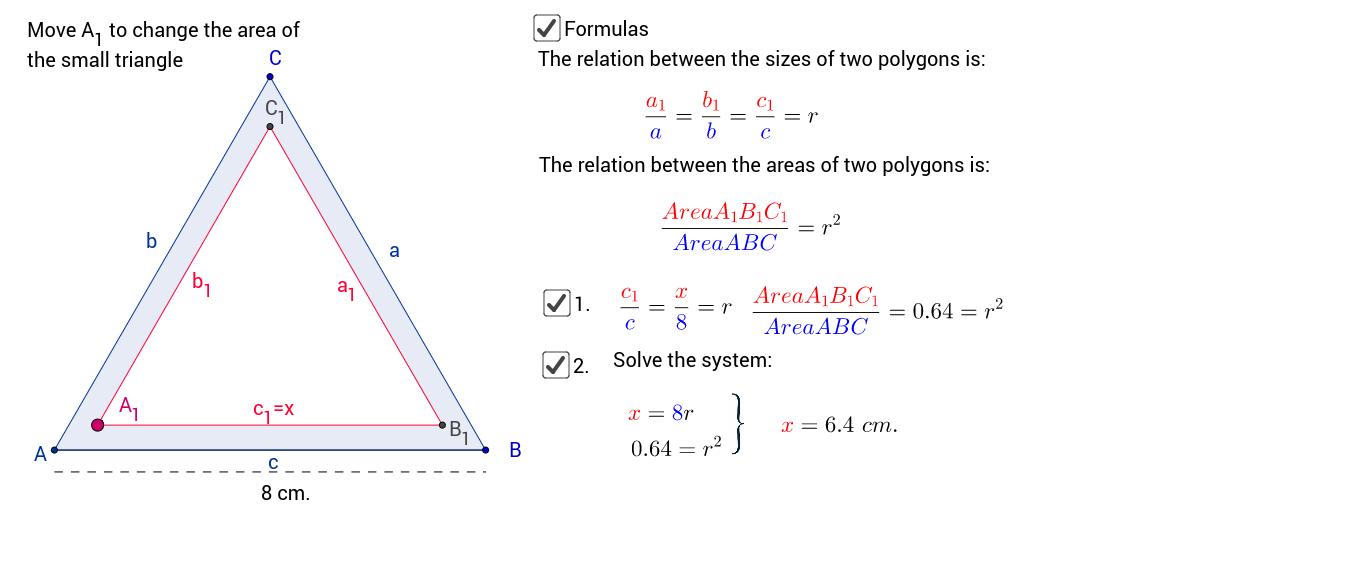 64% der gesamten Fläche des grossen Dreiecks sind schraffiert. Je eine Seite des grossen und es kleinen Dreiecks sind parallel. Wie gross ist x?