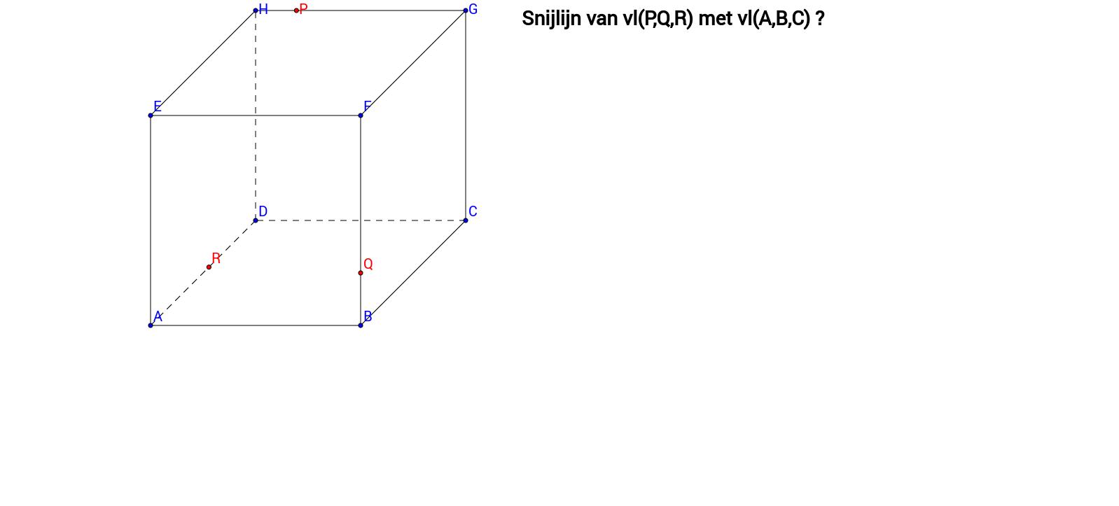Snijlijn twee vlakken - kubus 4 - klaswerk oefening 2