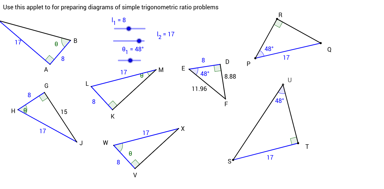 Templates for generating mathematics problem exercises geogebrabook use the sliders to change the dimensions of the triangles and then use screen capture tools to copy the diagram to your word processor and make your own pooptronica Gallery