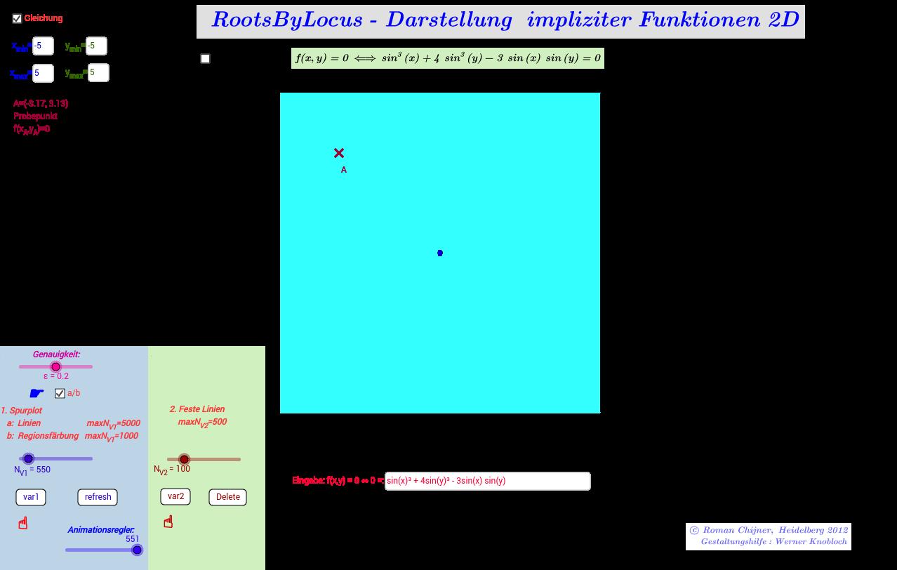 RootsByLocus- Darstellung  impliziter Funktionen 2D (2_2a)