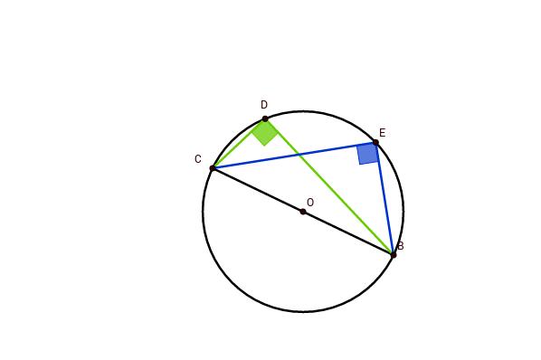 Ângulos inscritos numa semi-circunferência