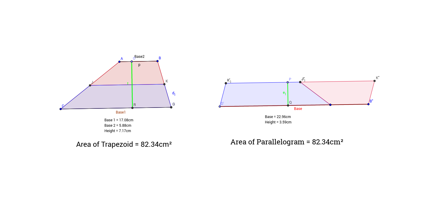 Trapezoid to Rectangle GeoGebra – Area of Trapezoid Worksheet