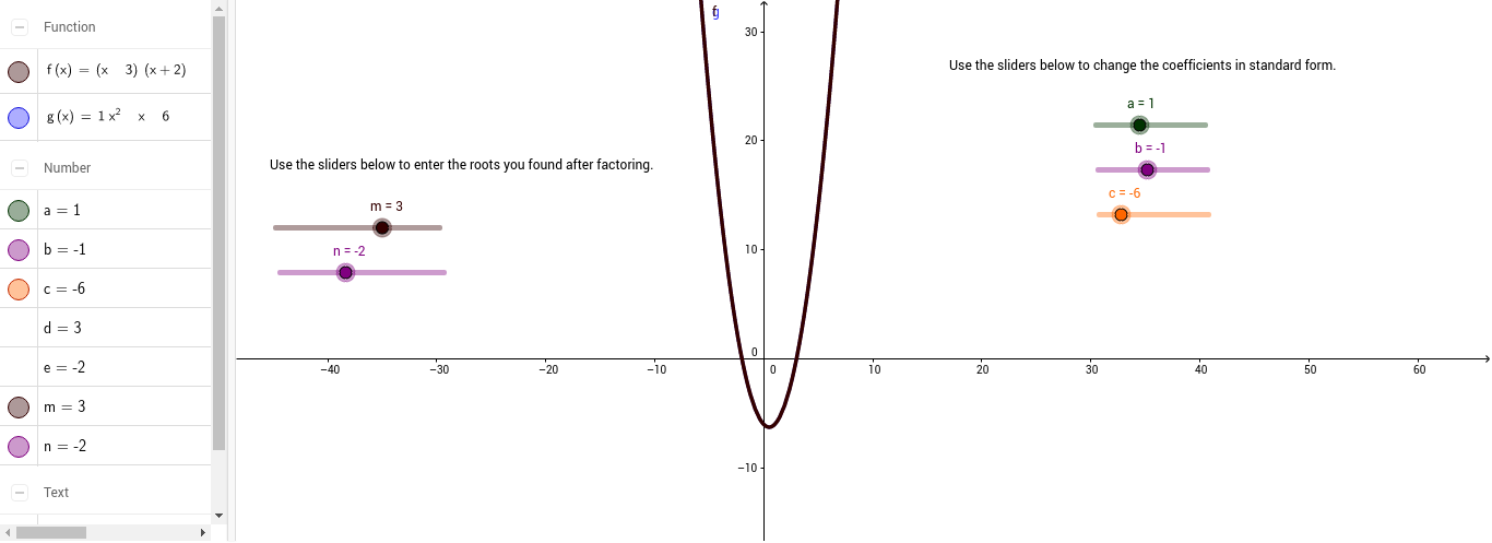 Quadratic Functions Factoring And Standard Form Geogebra