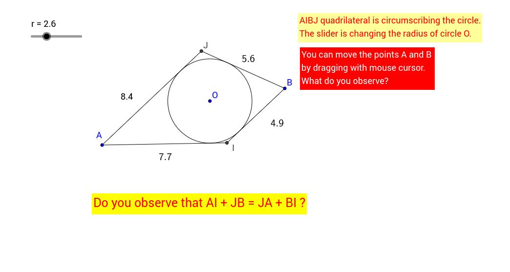 Mathematics Teaching aid -Tangents and Circle