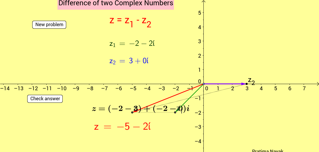 Difference of two complex numbers