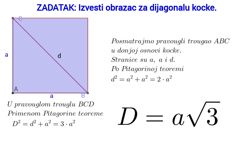 Obrazac za dijagonalu kocke