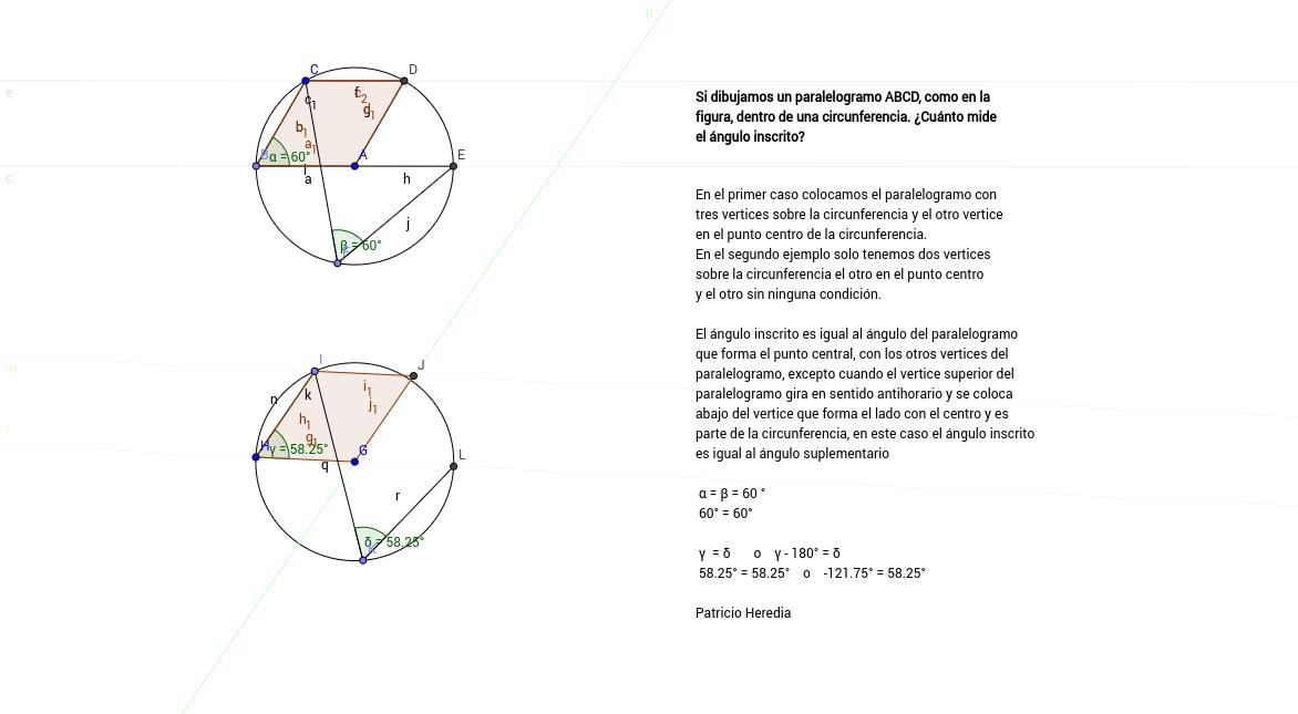 Angulo inscrito y paralelogramo