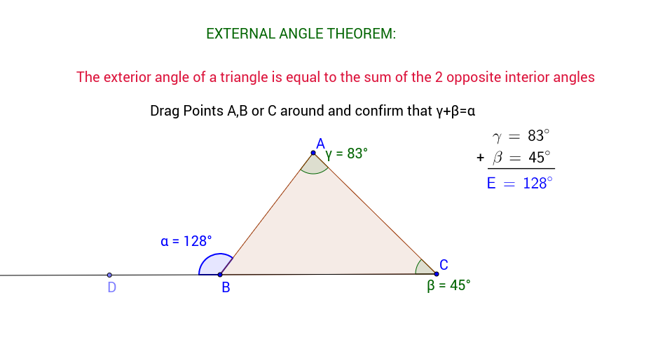 Exterior angle theorem geogebra for Geometry exterior angle theorem