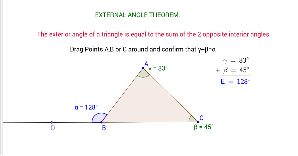 Exterior angle theorem geogebra - Exterior angle inequality theorem ...