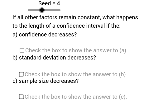Confidence Interval Variation Problems