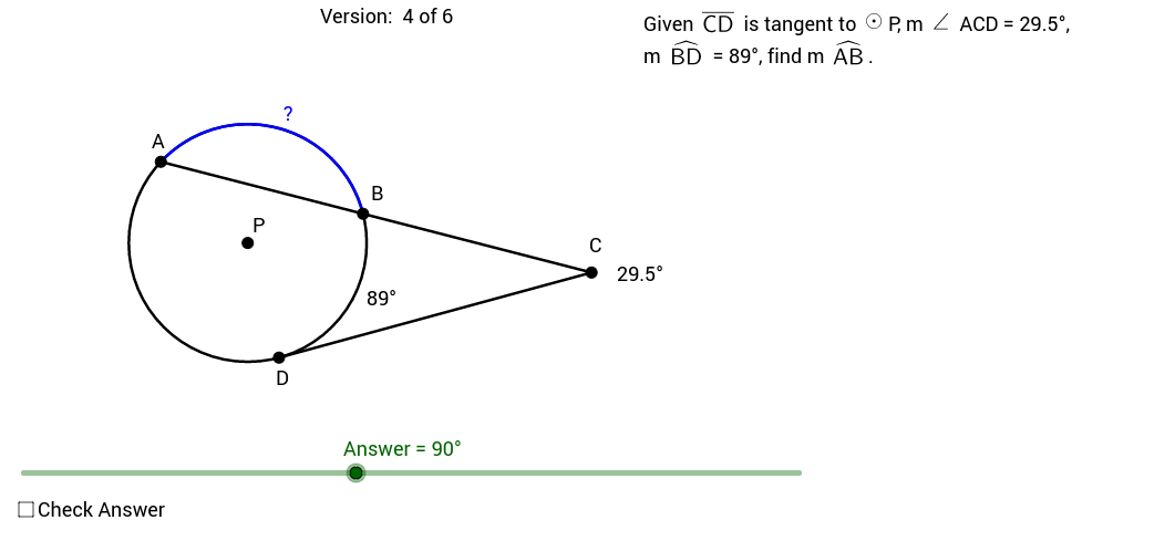 Finding Measures of Tangent/Secant Arcs