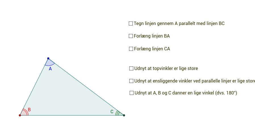 Bevis for vinkelsum i trekant er 180 grader