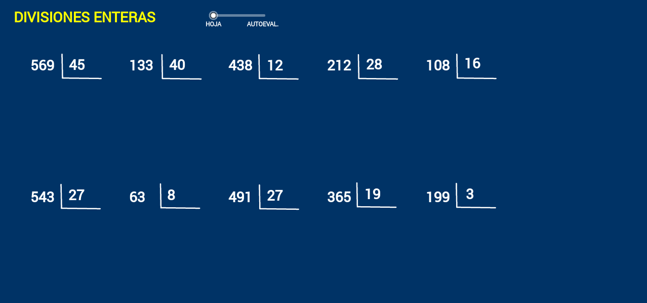 Divisiones enteras con dos cifras