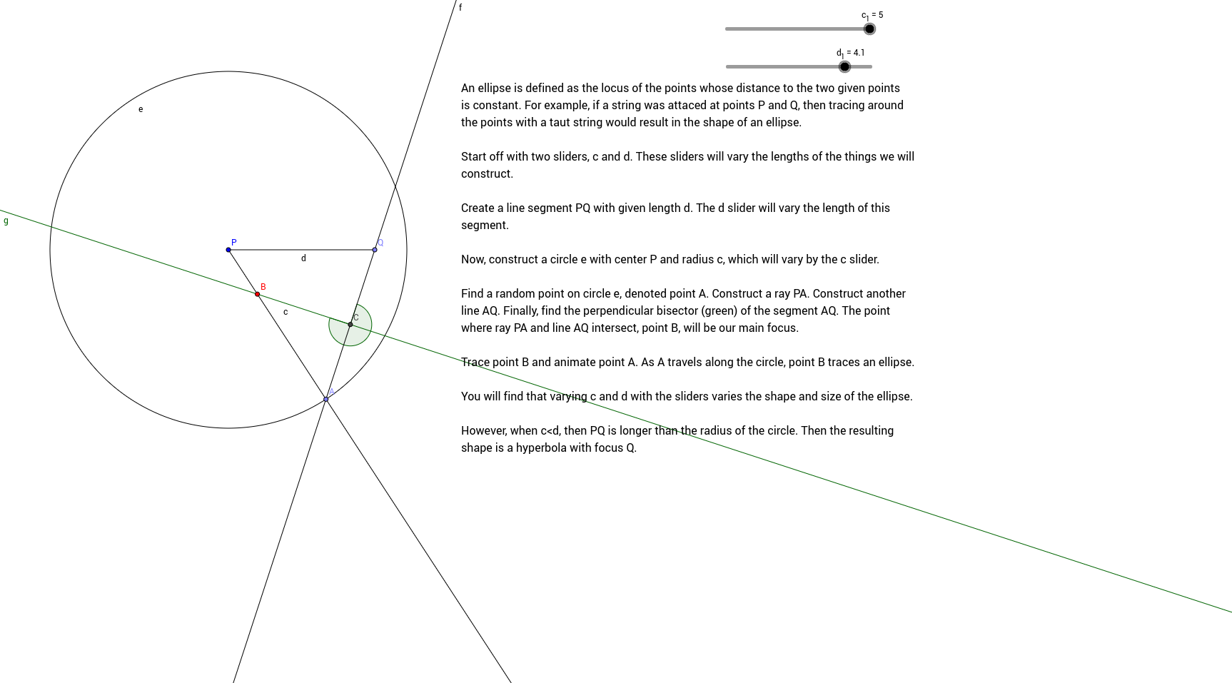 Tracing An Ellipse Geogebra