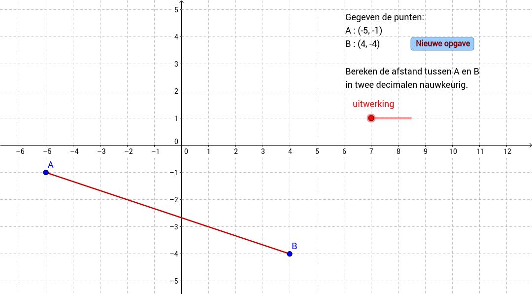 Afstand tussen twee punten berekenen. Pythagoras