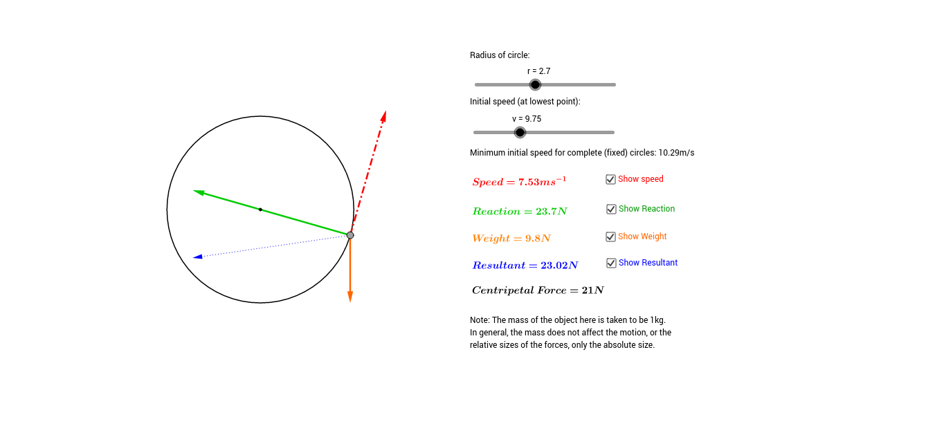 worksheet Centripetal Force Worksheet forces in vertical circular motion geogebra
