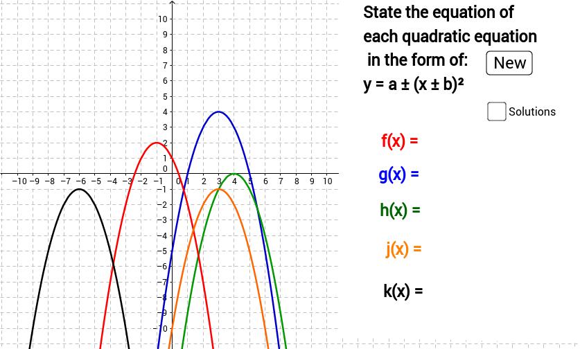 Quadratics Completed the square form