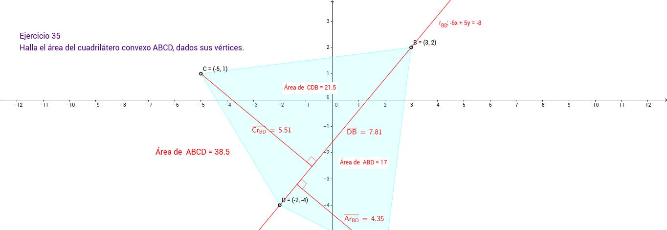 Ejercicio 35. Geometría en el plano