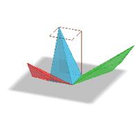 Patron de 3 pyramides dans un prisme