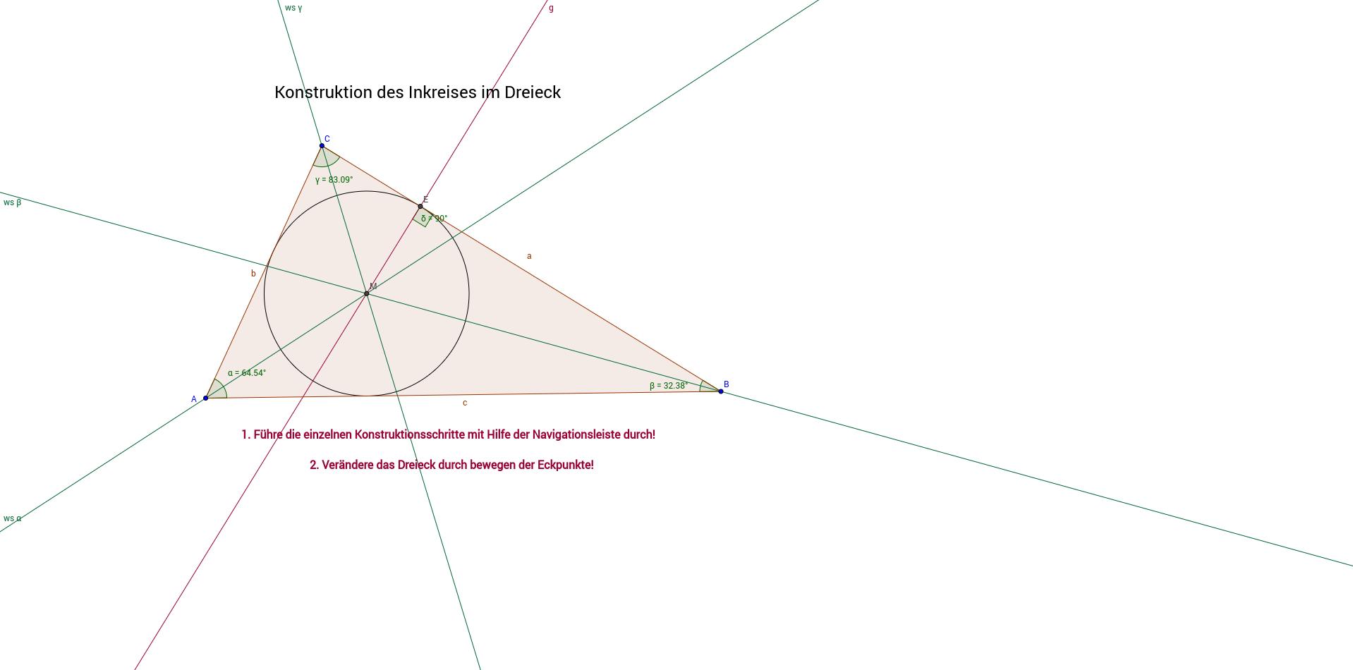 Der Inkreis des Dreieckes