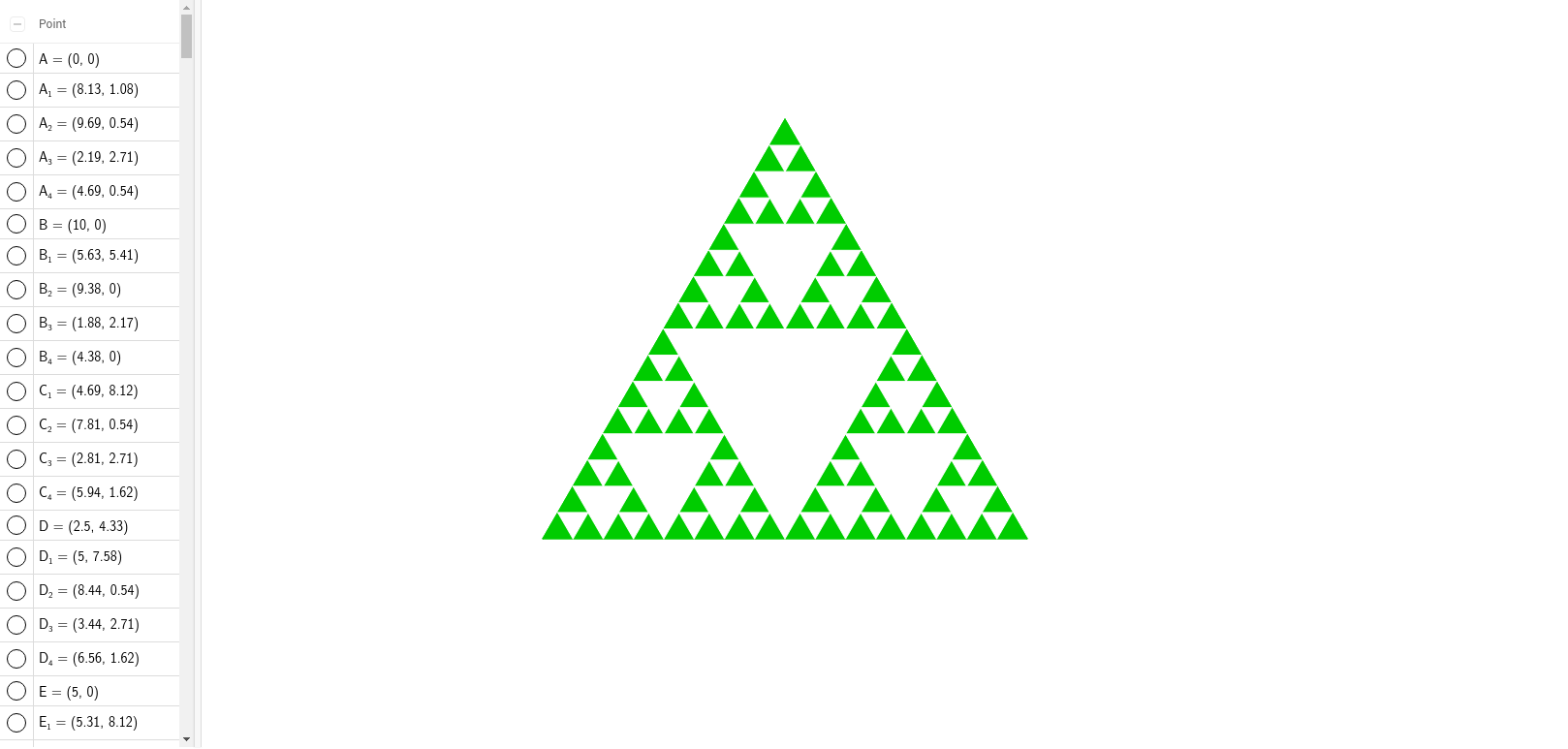 Worksheets Sierpinski Triangle Worksheet sierpinski christmas tree geogebra construct the three midsegments to subdivide it into four smaller congruent equilateral triangles and remove central one repeat step 2 with each of the
