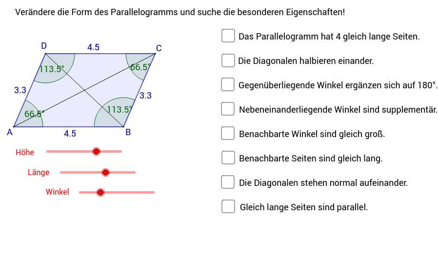 Parallellogramm und Raute