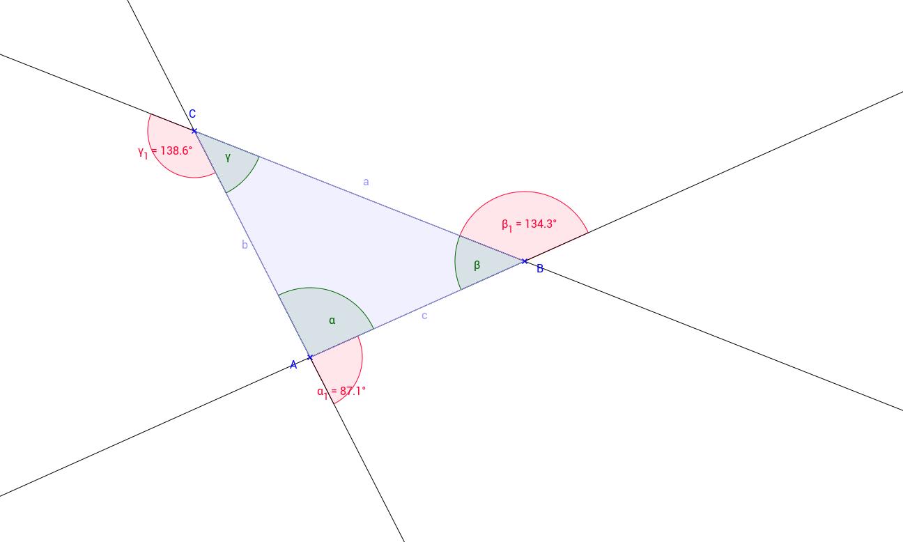 Die Außenwinkel im Dreieck